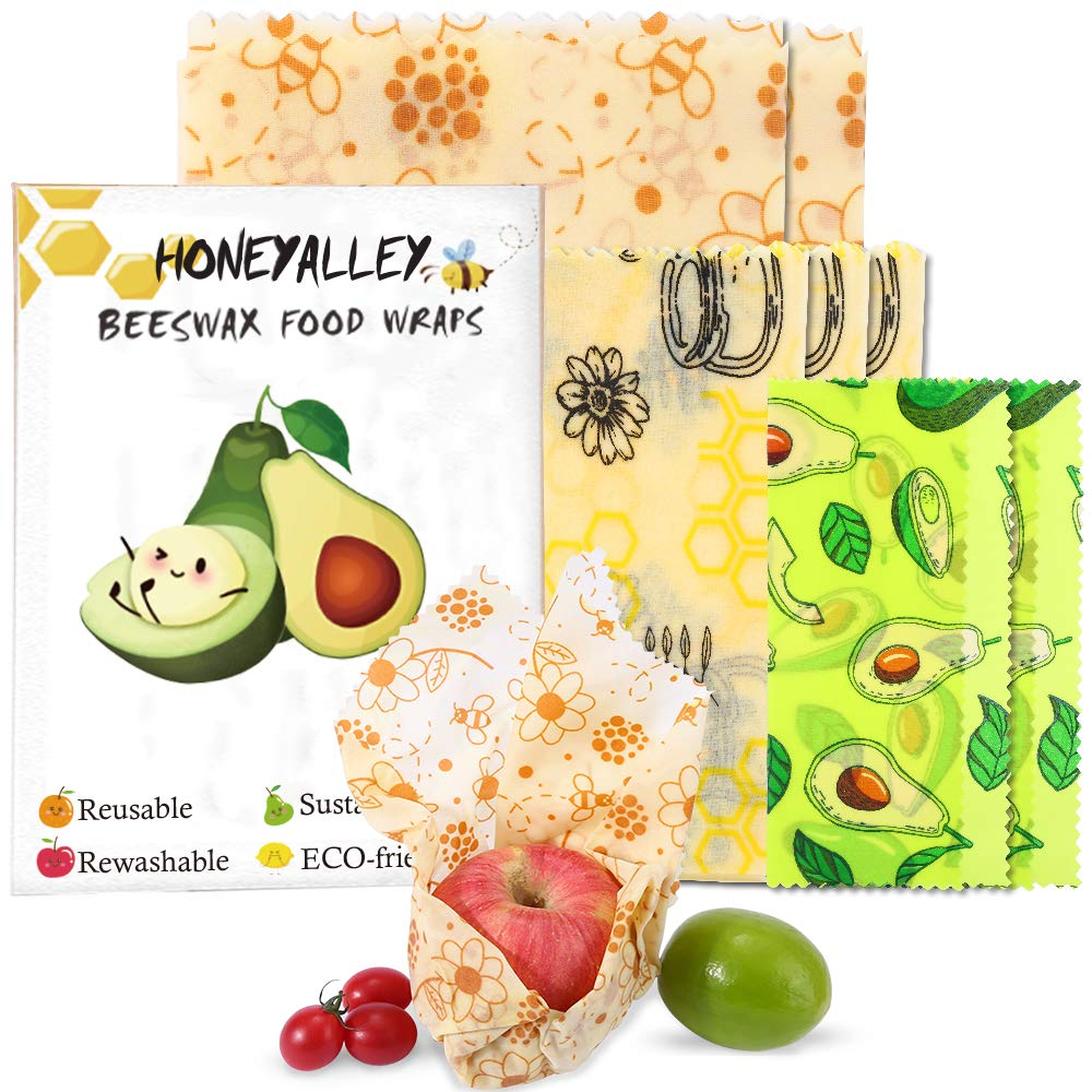 HONEYALLEY Reusable Beewax Food Wrap 7 Pack Plastic Free Alternative for Food