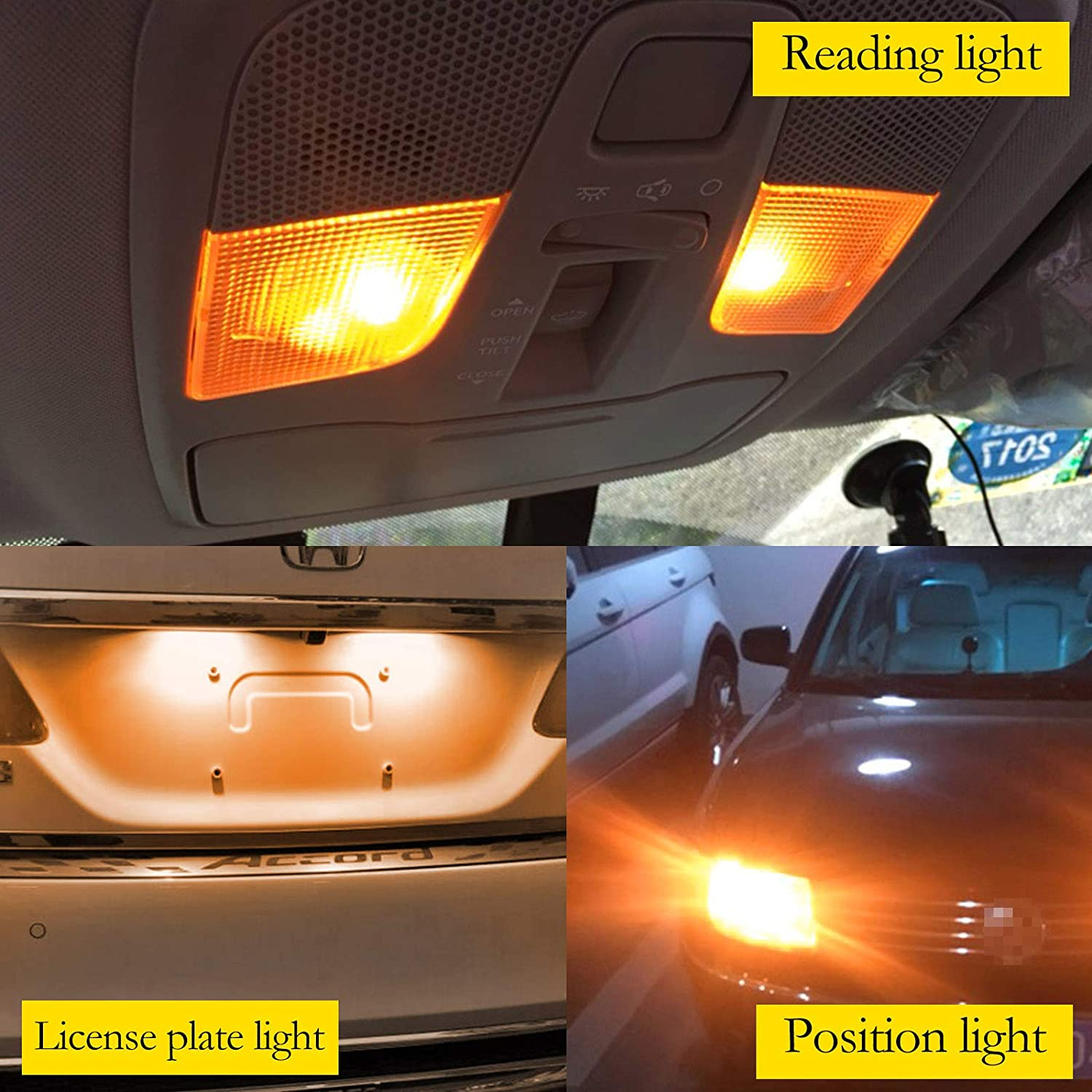 YaaGoo Compact Small bulb License Plate Lights Lamp,T10 168 194 2825 W5W,amber,12pcs