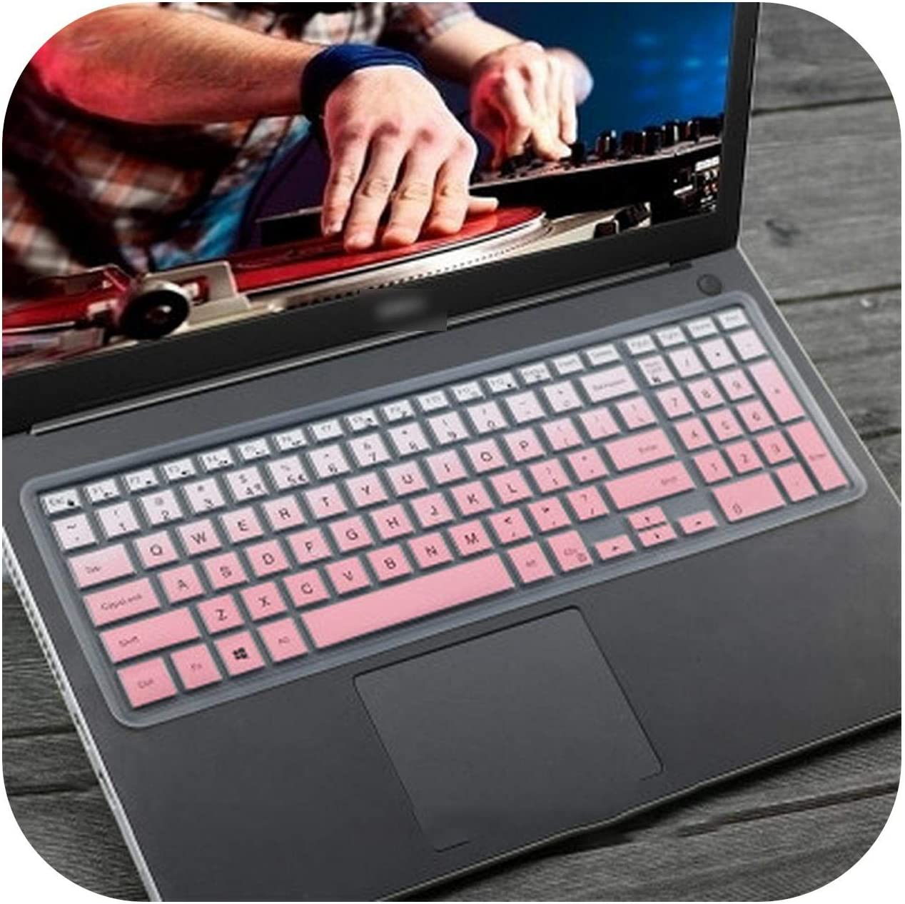 15.6 Inch Laptop Keyboard Cover Protector Skin for Dell Inspiron 15 3583 3585 3590 5557 G3 3573 3579 15Pd 15Gd 15Pr 17Pd G3-17-Gradualpink