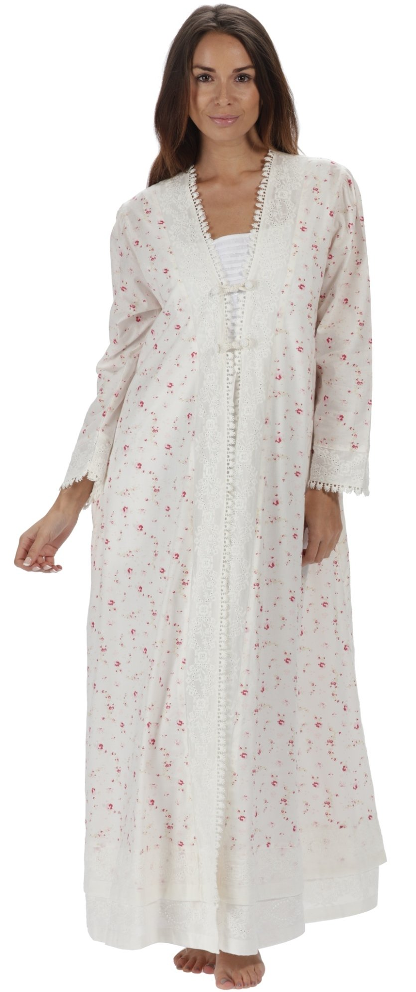 The 1 for U 100% Cotton Ladies Robe/Housecoat - Rosalind (XXL, Vintage Rose)