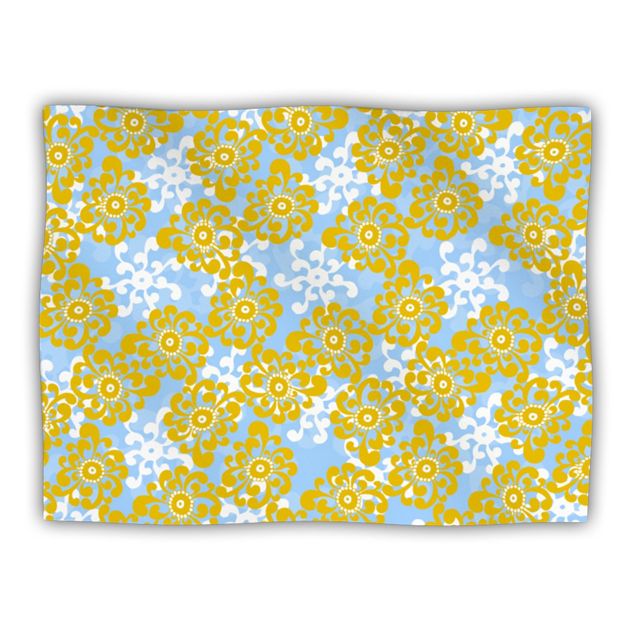 Kess InHouse Nandita Singh  bluee and Yellow Flowers Alternate  gold Floral Pet Dog Blanket, 60 by 50-Inch