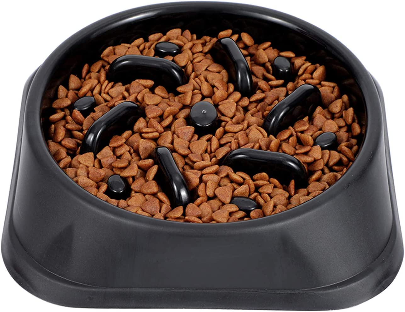 Dog Bowl Slow Eating Feeder, No Chocking Anti-Gulp Slower Bowl, Stop Bloat for Dogs, Reduce Slip Puzzle Bowl for Small Puppy Medium Dogs, Eco-Friendly Non-Toxic Maze Bowl for Fast Eater (D-Black)