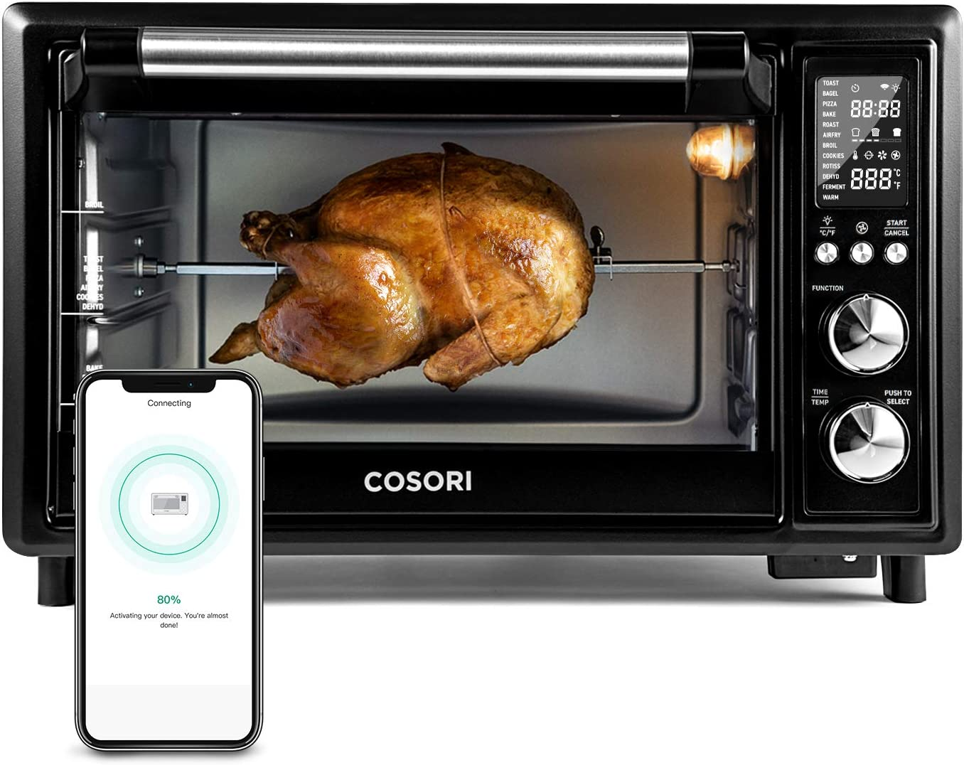 COSORI Com Smart 12-in-1 Air Fryer Toaster Oven Combo Convection Rotisserie & Dehydrator for Chicken, Pizza and Cookies, Recipe&Accessories Included, 30L, Black