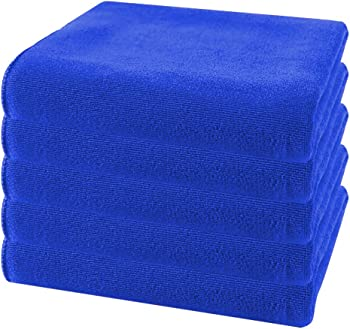 5-Pieces Morecon Microfiber Cleaning Cloths (9.8 x 9.8inch, Blue)