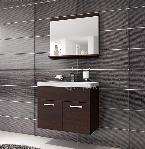 Badezimmer Badmöbel Montreal 02 60cm Waschbecken Wenge   Unterschrank  Waschtisch Spiegel Möbel
