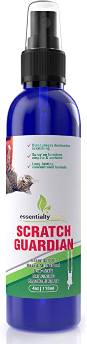 Cat Deterrent Spray for Scratching - 4oz Natural Non-Toxic Anti Scratch Cat Spray for Scratching - Protect Your Furnture, Carpet and Plants - Perfect No Scratch Spray for Cats - Made in USA