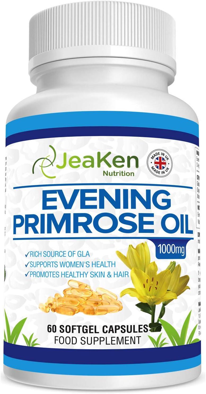 JeaKen ACEITE DE ONAGRA CAPSULAS - 60 Pastillas Para Menopausia Aceite con Vitamina E - Alivia Dolores los Sintomas de la Premenstrual - Salud de la Piel, Cabello y Huesos- Prensado en frío, 10% GLA