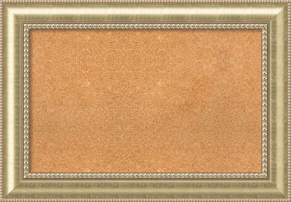 Amanti Art Choose Your Custom Size Natural Cork Astoria Champagne Framed Bulletin Boards, 32x20