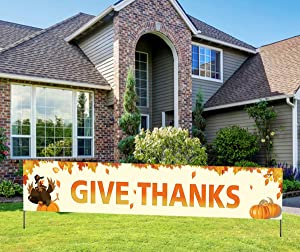 Large Give Thanks Banner, Give Thanks Yard Sign, Happy Thanksgiving Banner, Thanksgiving Decorations for Home Outdoor(9.8 * 1.6 ft)