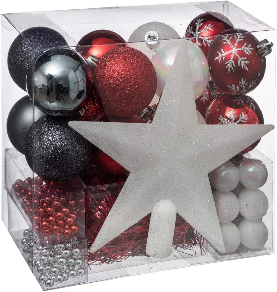 FEERIC LIGHTS & CHRISTMAS Lote decoración de Navidad - Kit 44 piezas para la decoración del árbol: Guirnaldas, Bolas y Estrella - Color Blanco y Dorado: Amazon.es: Hogar