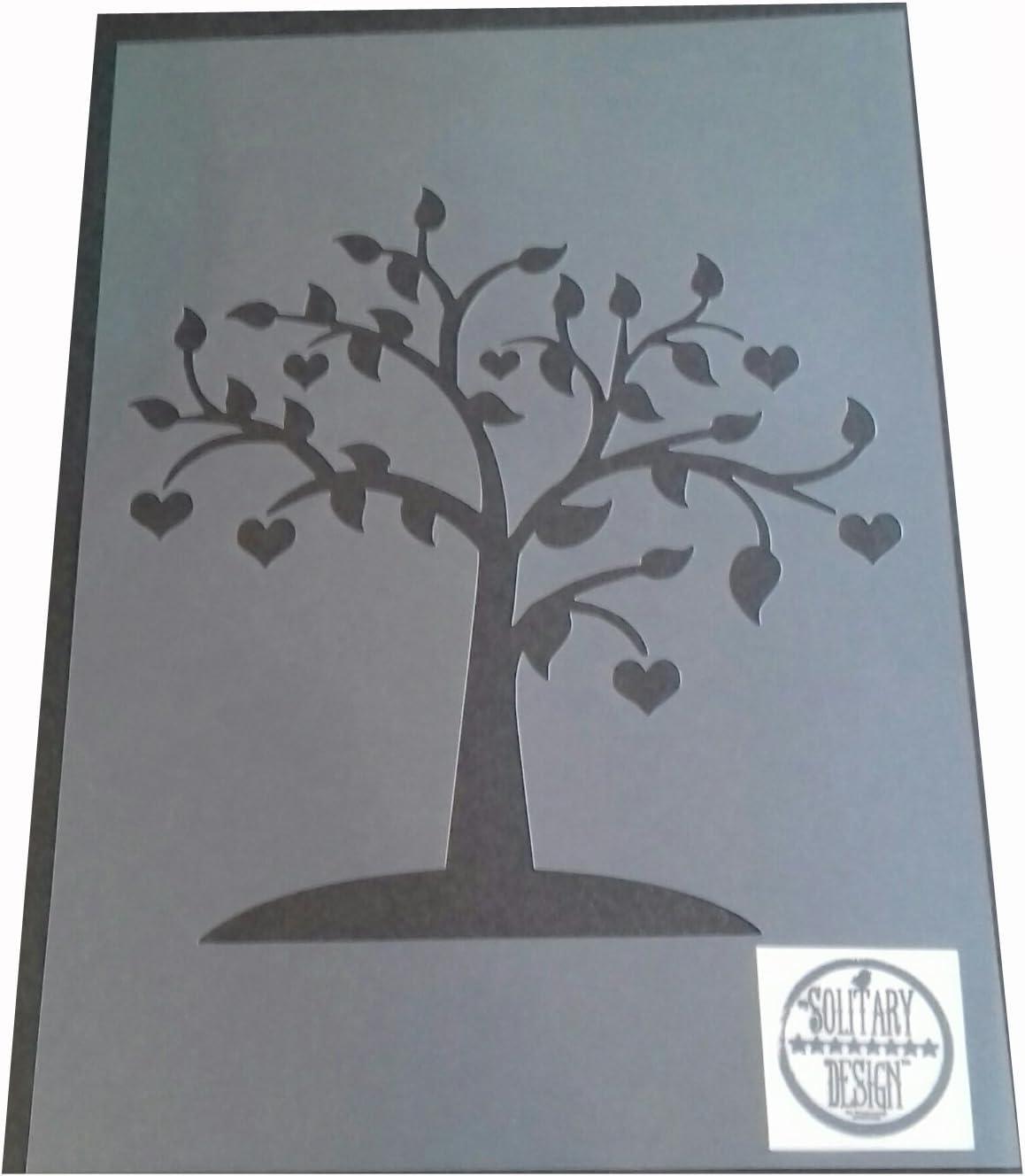 Pochoir shabby chic C/œur Branche Arbre rustique vintage Mylar A4/297/x 210/mm Mur meubles Art