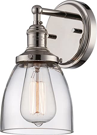 Nuvo Lighting 60 5414 Vintage Incandescent One Light Wall Sconce Cone Clear Glass Polished Nickel