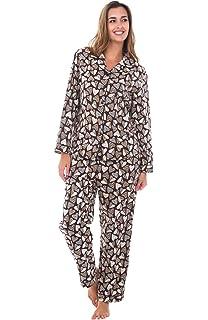 Alexander Del Rossa Womens Animal Print Flannel Pajamas, Long Cotton Pj Set