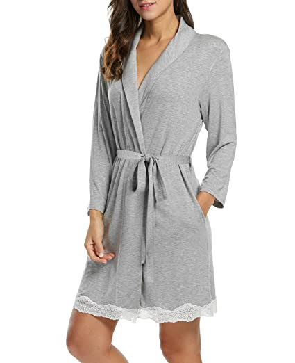 412b884515b4 TelDen Womens Cotton Robe Soft Kimono Spa Knit Bathrobe Lightweight Long at  Amazon Women s Clothing store