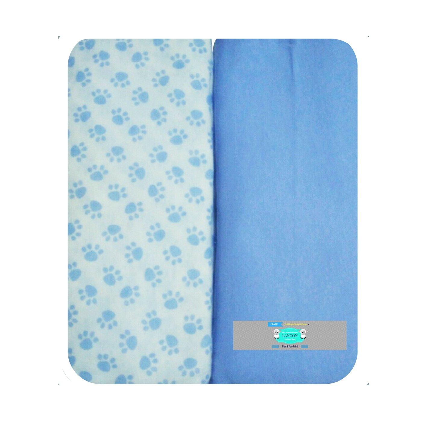 Bassinet Sheet Set by LANCON Kids - 2 Pack 100% Jersey Knit Cotton (Blue & Paw Print)