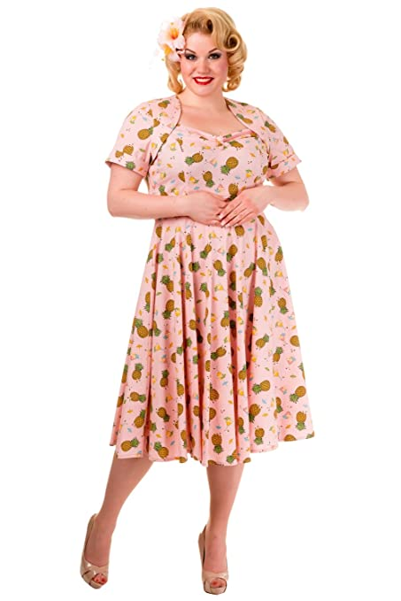 Pineapple Print 1950s Pin Up Tea Length Vintage Plus Size Dress $61.95 AT vintagedancer.com