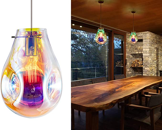 Modern Glass Island Pendant Light Lava Irregular Shape Chic 1 Light Chandelier Colorful Contemporary Hanging Ceiling Lighting For Kitchen Island Living Dining Room Bedroom By Bewamf Amazon Com