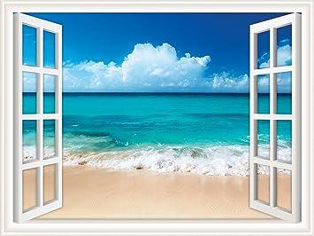 Walls 360 Peel U0026 Stick Wall Decal Window Views Ocean Beach With Fluffy  Clouds In Sky