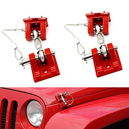 Pair Iparts Red Hood Catch Kit Assembly Lock Latch Sets for 2007-2017 Jeep Wrangler JK/&JKU