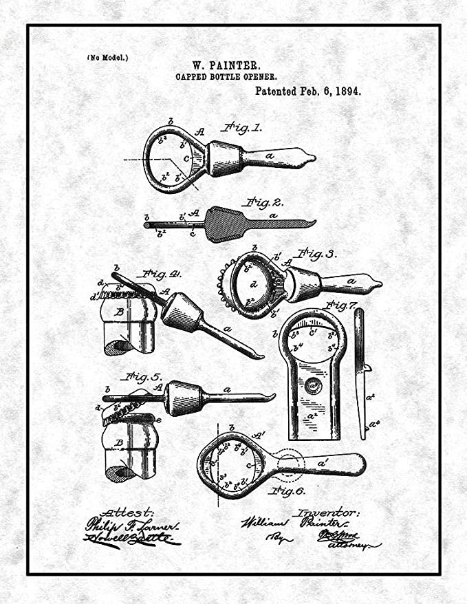 Amazon Com Capped Bottle Opener Patent Print Gunmetal With Border