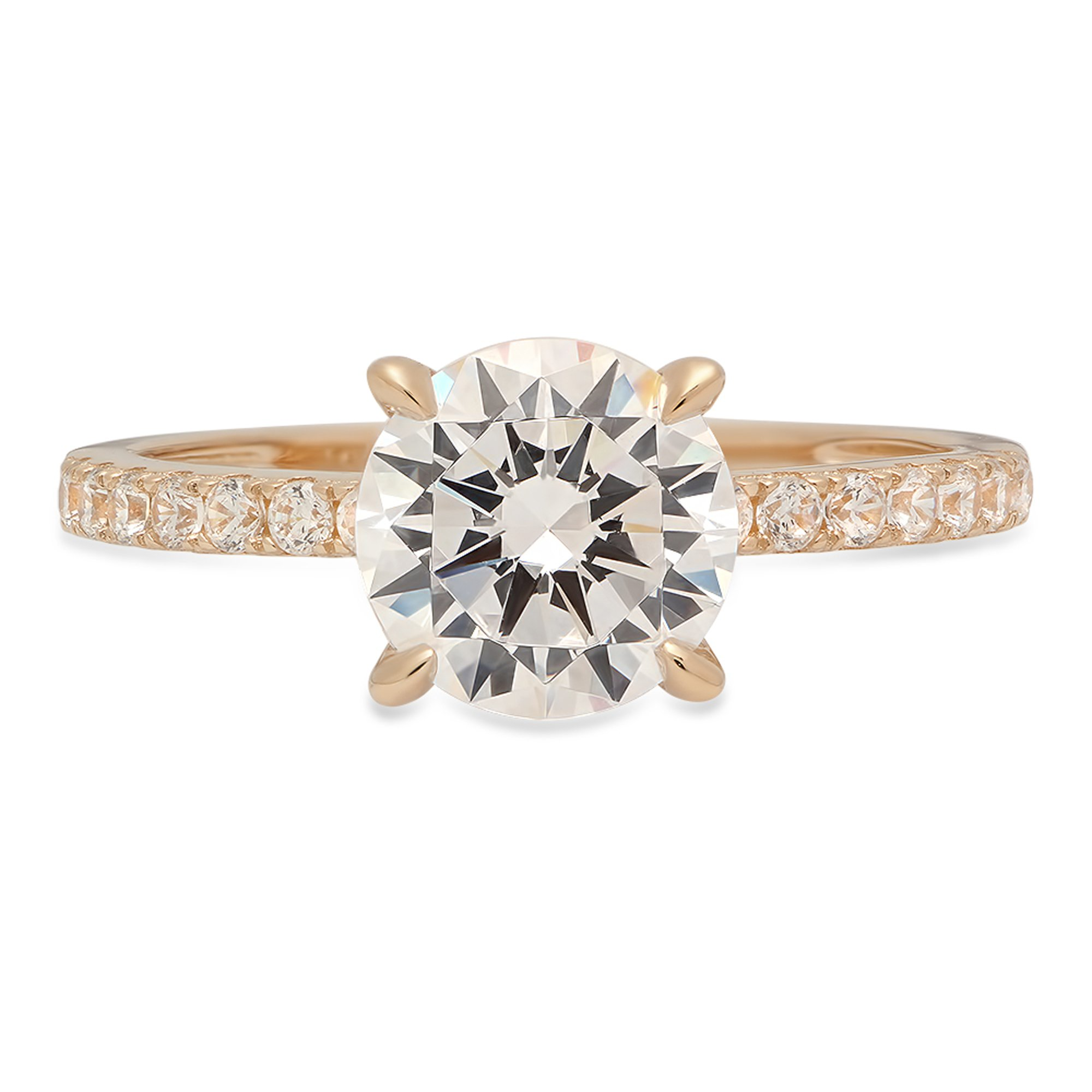 1.84 ct Brilliant Round Cut Accent Solitaire Engagement Wedding Bridal Promise Ring Solid 14k Yellow Gold, Size 5.25 Clara Pucci