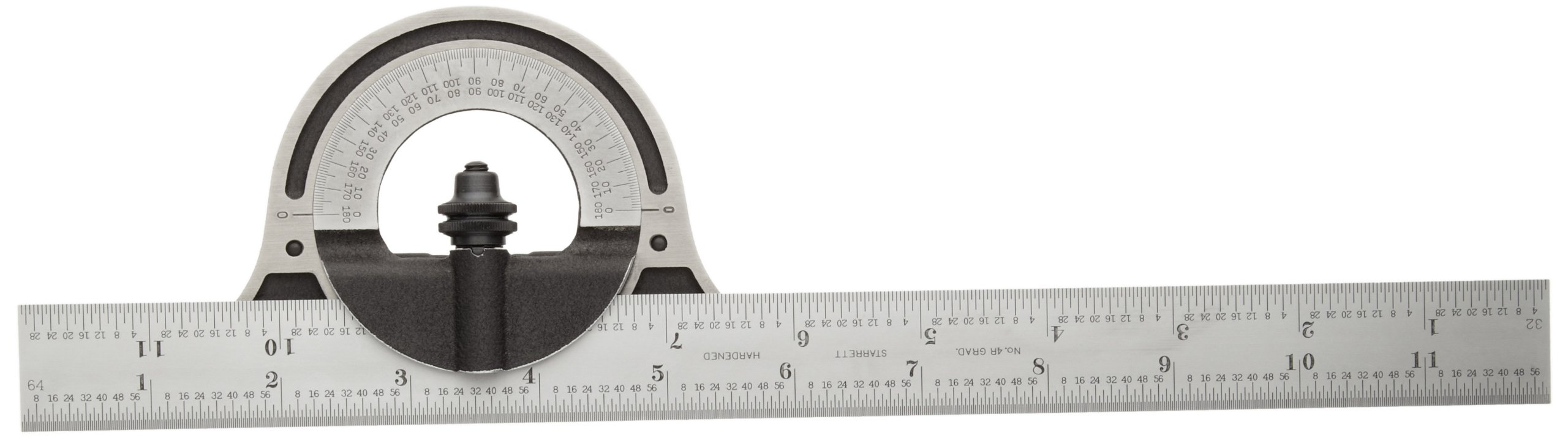 Starrett C12-12-4R Non-Reversible Bevel Protractor With Black Wrinkle Finish, 4R Graduation, 0-180 Degree, 12'' Size