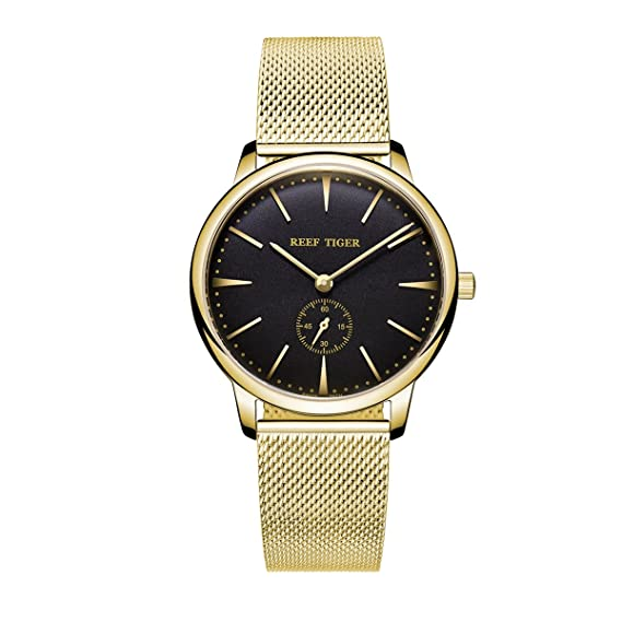 Reef Tiger lujo vintage pareja relojes para hombres Ultra Thin Caso reloj analógico de cuarzo rga820