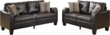2-Piece Poundex Bobkona Spencer Bonded Leather Sofa & Loveseat Set