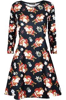 b67863dd39c27 Fashion Star Oops Outlet Womens Ladies Christmas Xmas Santa Gingerbread  Reindeer Mini Smock Swing Dress