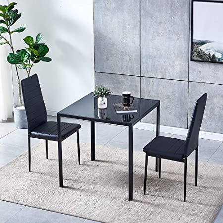 Ansley Hosho Black Small Dining Table And Chairs Set Of 2 Compact 3 Piece Modern Kitchen Glass Tempered Square Table And 2 Black Faux Leather Chairs For Small Dinette Apartment Space Saving Amazon Co Uk