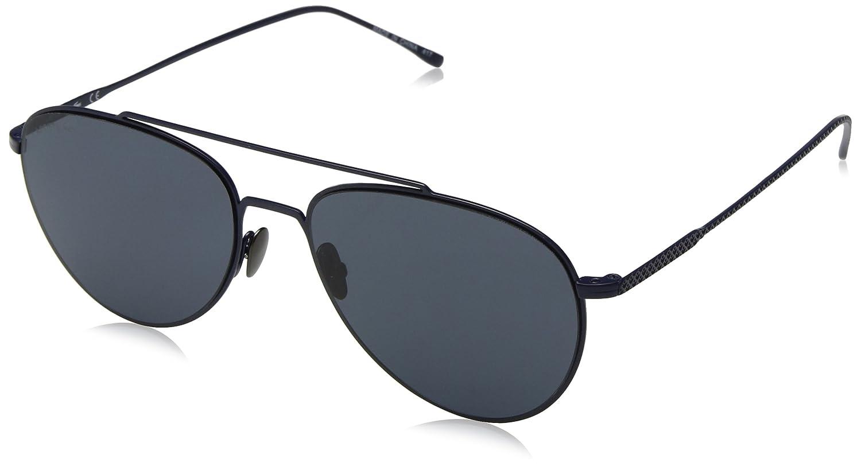 Lacoste Unisex Petite piqué Aviator anteojos de sol, Azul mate, 56 ...
