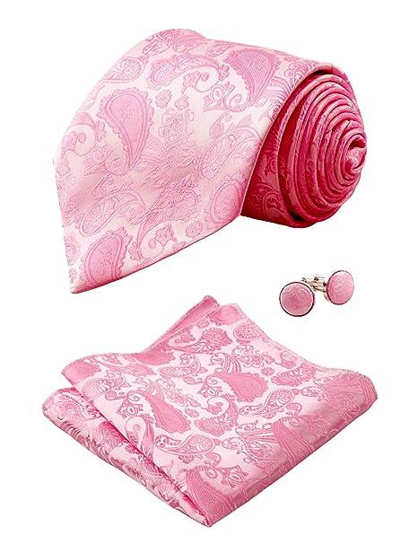 Alizeal Paisley-Corbata, Pañuelo y Gemelos para Hombre Rosa ...