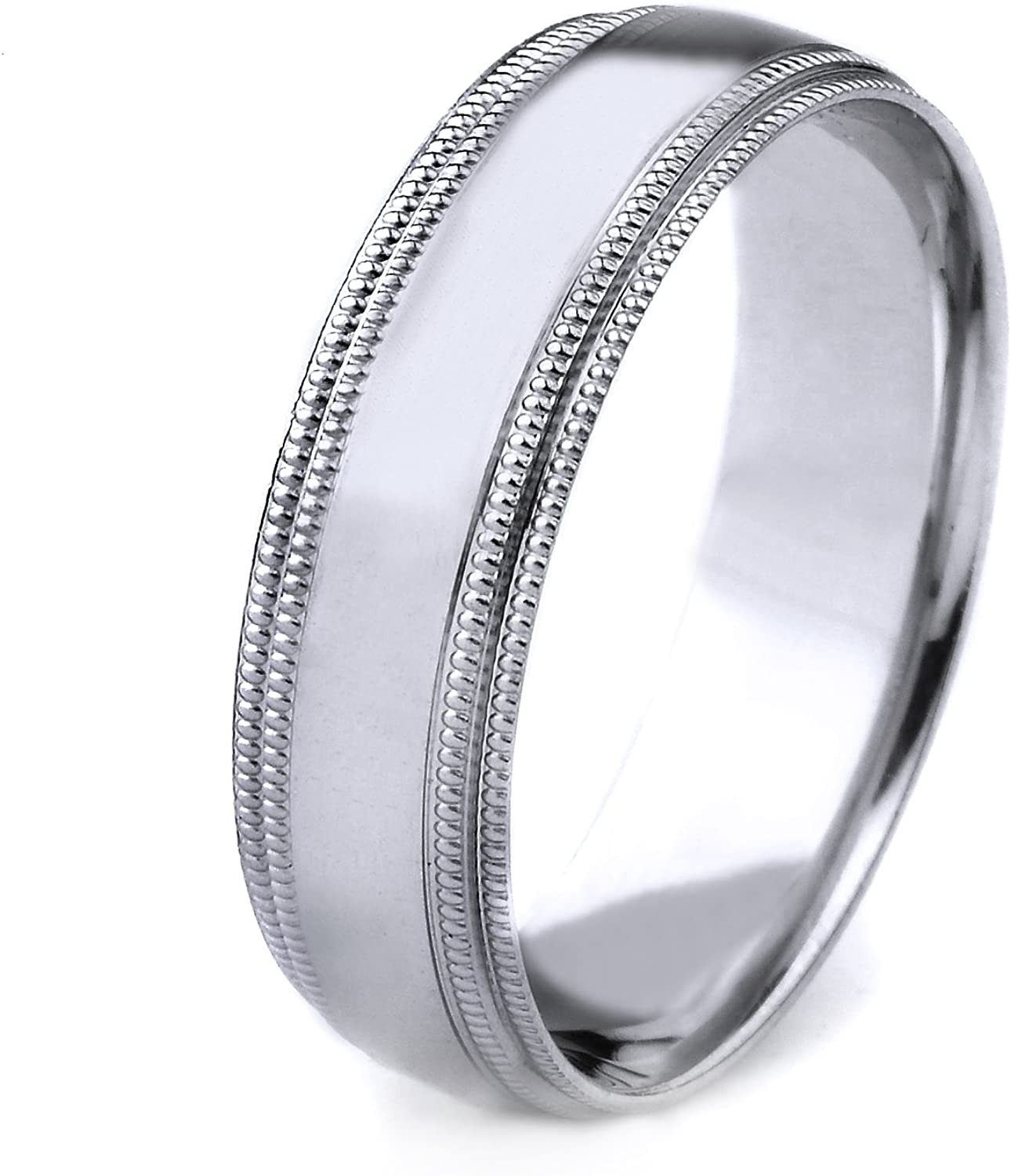 6mm AFFINE Jewelry 10k Gold Mens Comfort-Fit Plain Wedding Band with Double Milgrain Edges and Polished Center