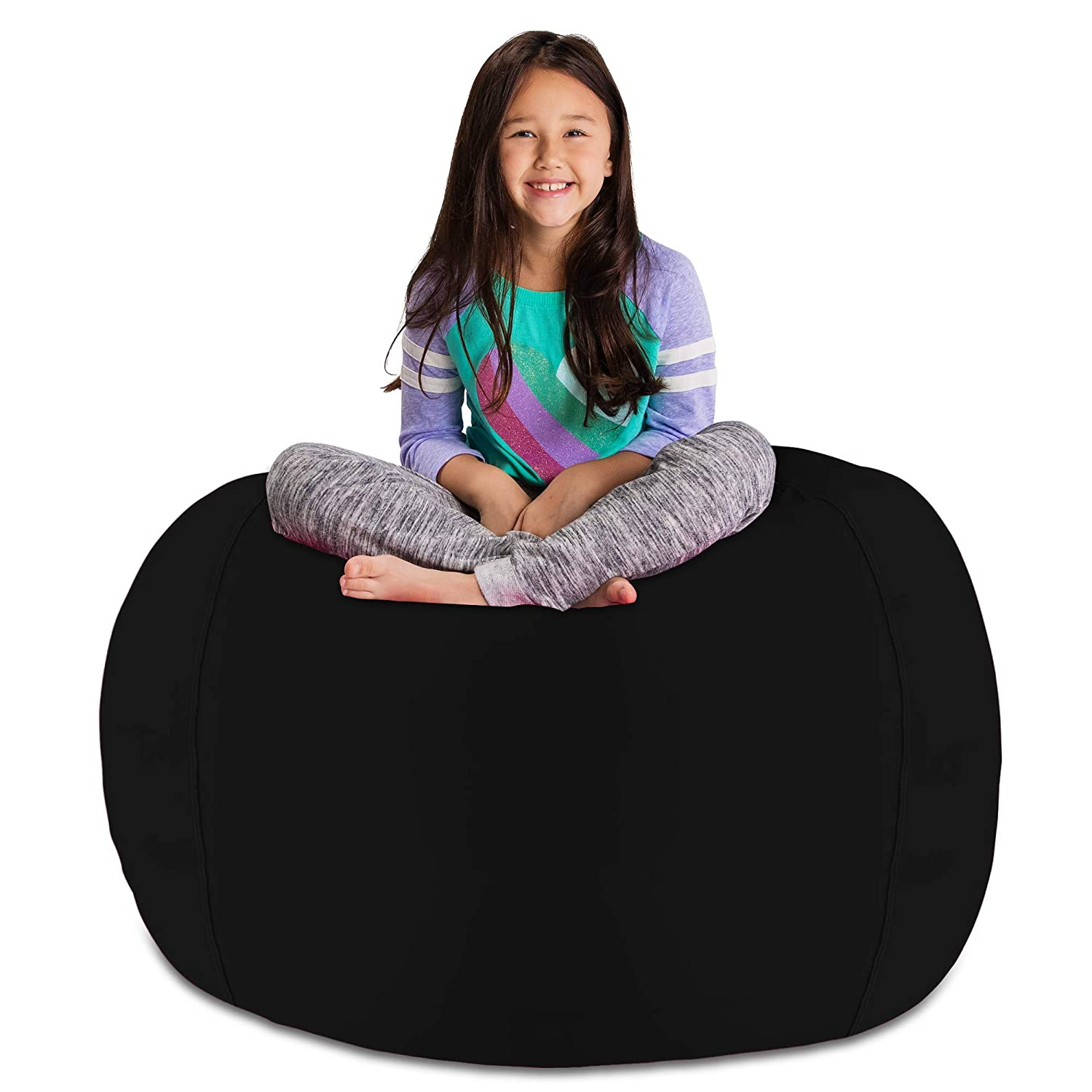 Tremendous Posh Stuffable Amzst Bxl Sol Blk Kids Stuffed Animal Storage Bean Bag Chair Cover Childrens Toy Organizer X Large 48In Solid Black Camellatalisay Diy Chair Ideas Camellatalisaycom