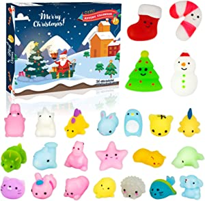 OZMI Advent Calendar 2020 for Kids, Christmas Countdown Calendar Toy for Girls Boys Kids Adults with 24 Pcs Mochi Squishy, Surprise Relief Stress Toys for Count Down Christmas Holiday Party, Candy