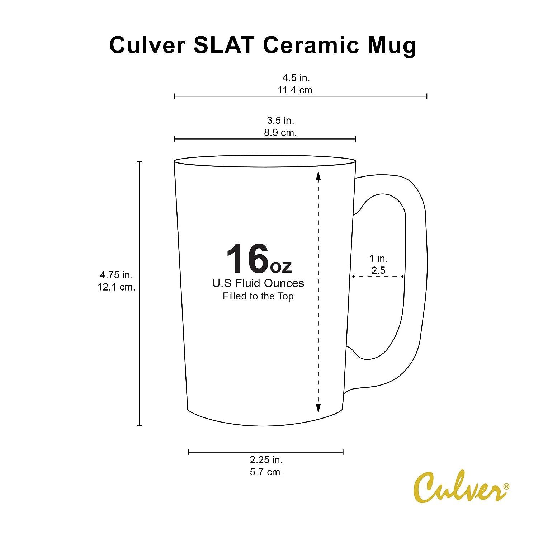 Culver 017-C300OR Slat Ceramic Mug Set of 4 16 oz Grey Orange