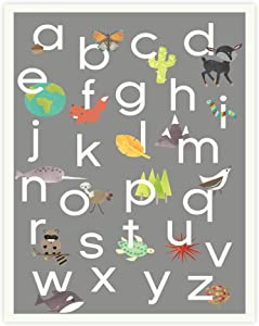 English Alphabet ABC Poster Wall Art Print, 18 x 24, Baby Room Decor, Nature Themed, Grey Background, Toddler Room Decor Alphabet, Visual Alphabet, Boho Style