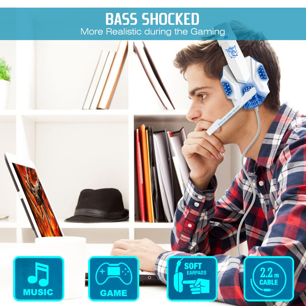 Gaming Headset with Mic and LED Light for Laptop Computer, Cellphone, PS4 and so on, DLAND 3.5mm Wired Noise Isolation Gaming Headphones - Volume Control.(White and Blue) by DLAND (Image #7)
