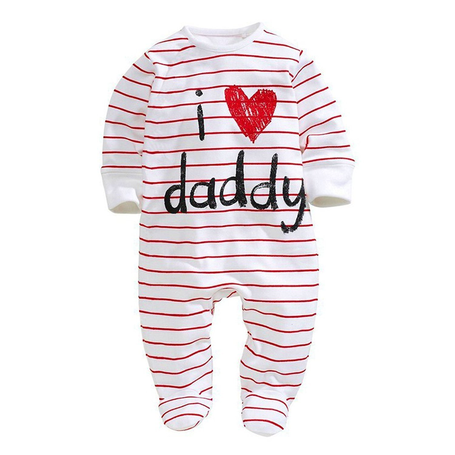 Infant and Toddler Baby Long Sleeve Letters I love Mommy Daddy Printed Onesies Jumpsuit (18-24Months, Dad)