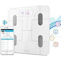 HOMPO Body Fat Scale Bluetooth Digital Bathroom Smart Wireless Body Fat Analyzer Scale with Smartphone App & LED Display, Measures BMI, Body Fat, Muscle Mass, Water Weight, and Bone Mass
