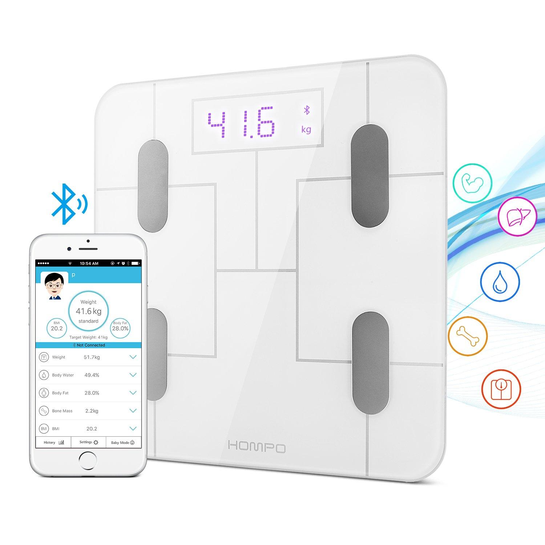 Báscula Baño, HOMPO Báscula de Baño Digital Bluetooth 4.0 con APP Medida de Peso Grasa Masa muscular y Osea Agua ect Pantalla Retroiluminada de Balanza ...