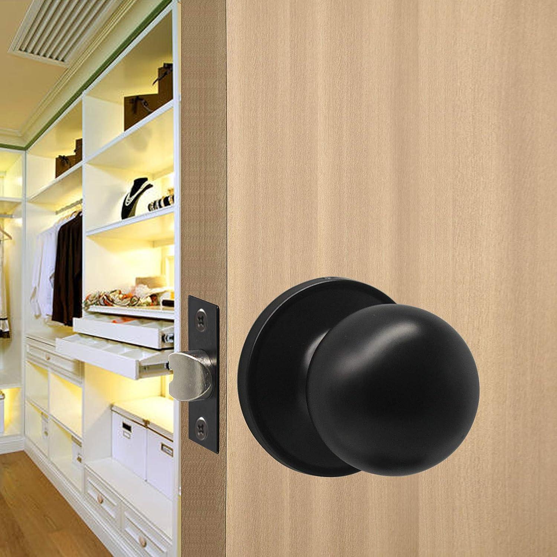 Probrico 5 X Black Door Handle Round Bedroom Door Knob Stainless Steel