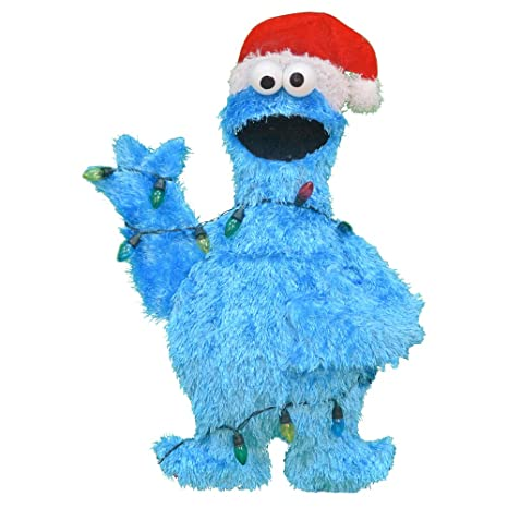 productworks 32 inch pre lit sesame street cookie monster in lights christmas yard decoration - Sesame Street Outdoor Christmas Decorations