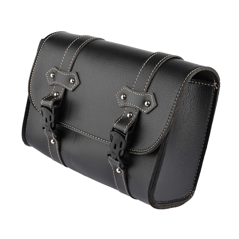 Motorcycle Saddle Tool Roll Luggage Bag Leder Motorbike Storage Black For Harley Davidson Qlhong