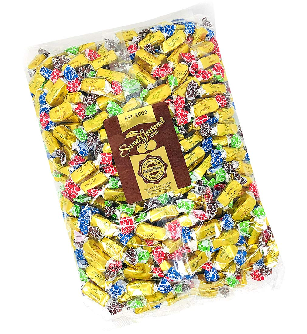 SweetGourmet Sugar Free Toffee Rolls | Chocolate, Caramel, Raspberry, Butter Rum | Kosher Gold Foil Wrapped | 5 Pounds by SweetGourmet