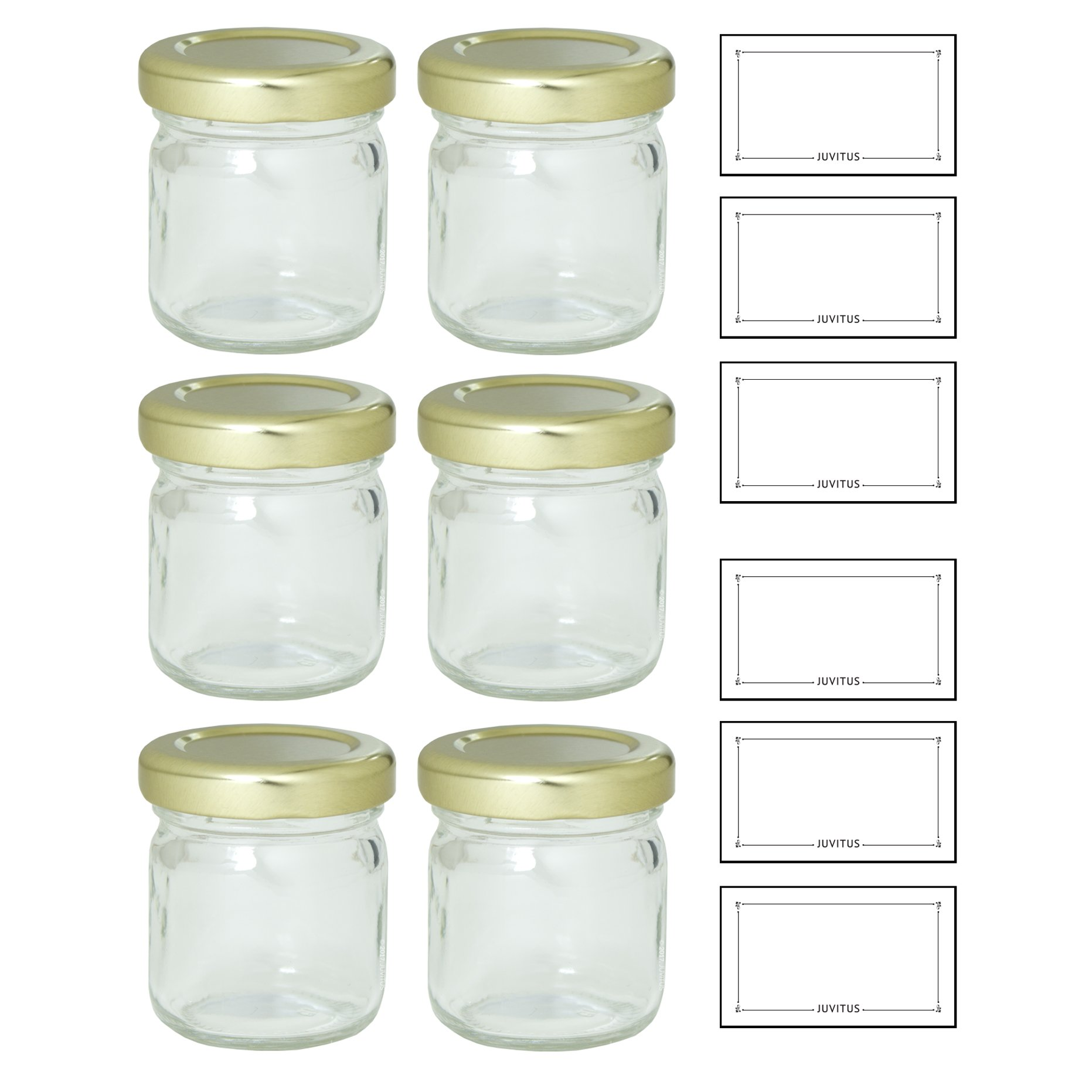 Clear 1.25 oz Thick Wall Glass Jar with Gold Metal Lined Lid (6 pack) Food Grade, Lead Free, Made in USA for Jams and Jellies, Honey, Wedding and Shower Gifts, Baby Foods, and more! by JUVITUS