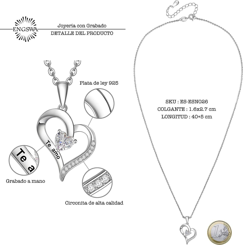 ENGSWA Collar Mujer Plata de Ley 925 Colgante Coraz/ón con Infinito Grabado Regalo para Mam/á Abuela Hija Ni/ña Esposa Novia