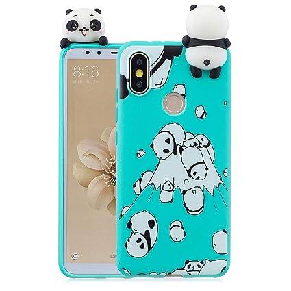 ffbb62b157a HopMore Funda para Xiaomi Mi A2 Silicona Dibujo 3D Divertidas Panda Animal  Carcasa Kawaii TPU Gel
