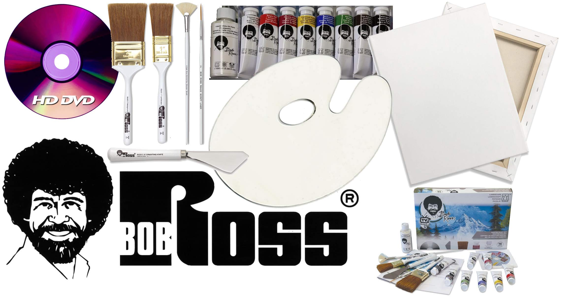 Bob Ross Painting Supplies 18 Piece Flagship Master Paint Set & DVD - The Joy of Painting Landscape Oil Kit with Canvas and Palette by Bob Ross