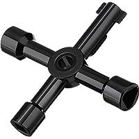 Willbond 4-Way Multi-Functional Utilities Key for Electric Water Gas Meter Box Cupboard Cabinet Opening Key (Black)